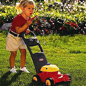 Girl with mower